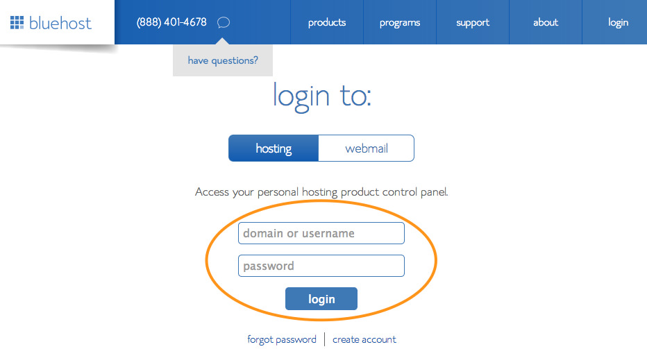 bluehost-login-panel